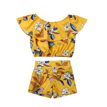 2Pcs Toddler Kids Baby Girl Floral Off Shoulder Ruffle Tops Sleeveless Shirt Short Pants Outfit Summer Clothes Set 2019 kids toddler girl summer clothing set ruffle off shoulder t shirt top bow skirt tutu dress stripe baby clothes outfit