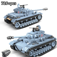 716 pcs WW2 Military Tank Bricks German Army City Soldier Police Weapon Building Blocks Sets Compatible LegoINGly Technik Toys