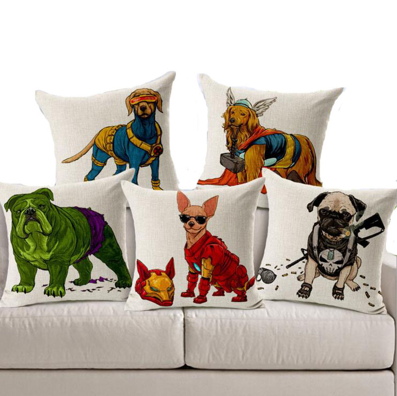 18 Square Quality Linen Dog Cushion Covers Hero Dog