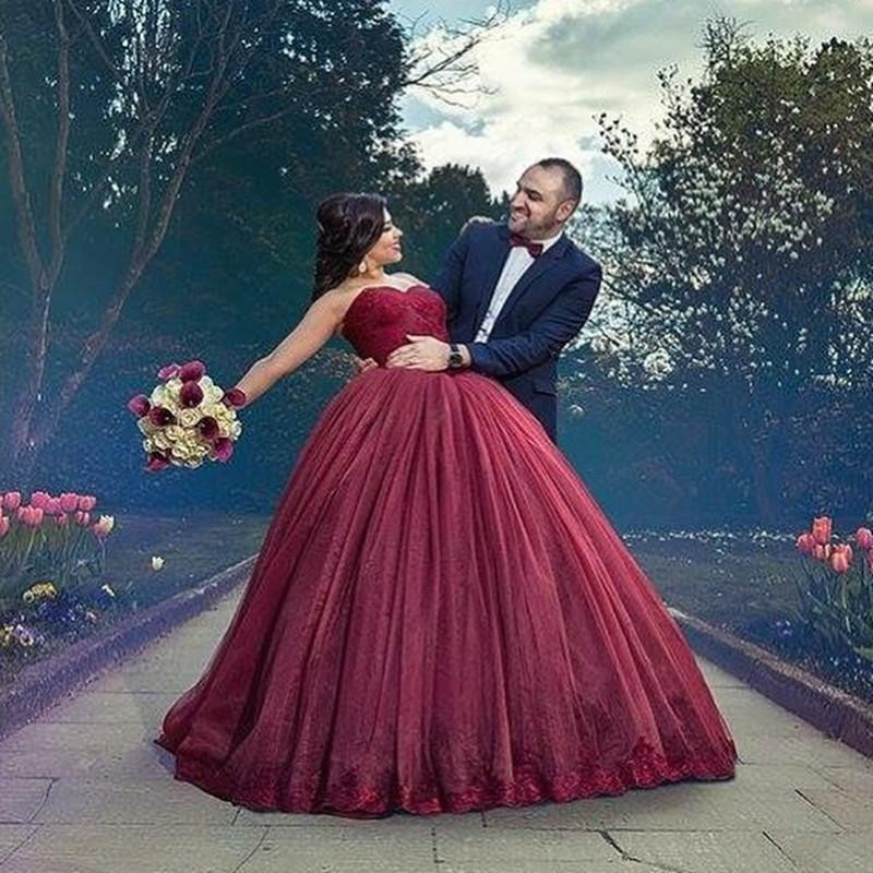 Gothic Burgundy Ball Gown Wedding Dresses Long Sweetheart Lace ...