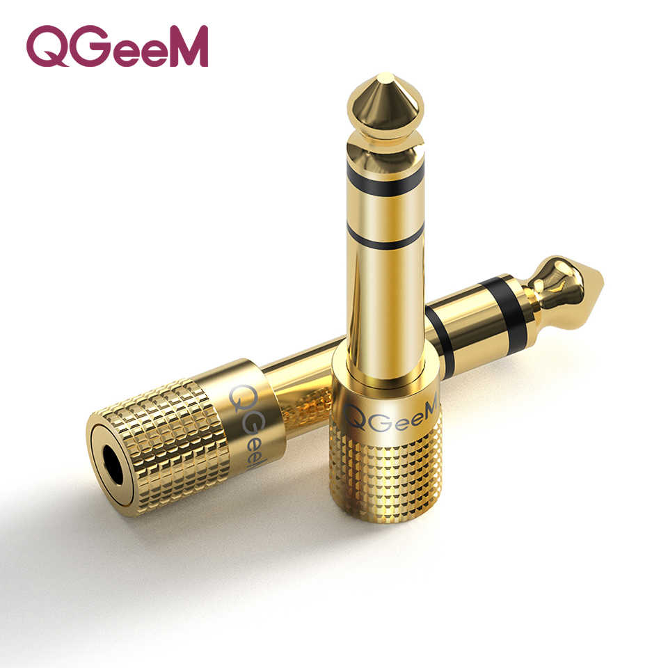 Qgeem Jack 6.5 6.35 Mm MALE Plug untuk 3.5 Mm Perempuan Konektor Headphone Amplifier Audio Adapter Mikrofon AUX 6.3 3.5 MM Converter