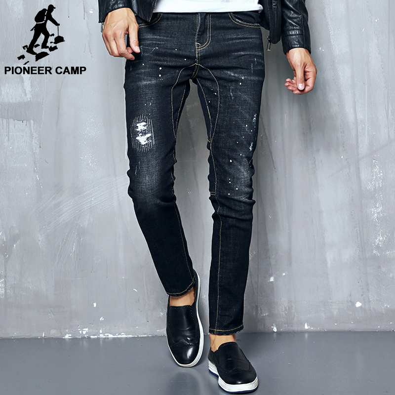 Pioneer Camp new Spring Autumn thick jeans men brand clothing male black denim pants top quality casual denim trousers 611036 pioneer camp 2017 new arrival jeans men brand clothing casual denim pants male top quality stretch denim trousers anz707024