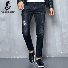 Pioneer Camp new Spring Autumn thick jeans men brand clothing male black denim pants top quality casual denim trousers 611036