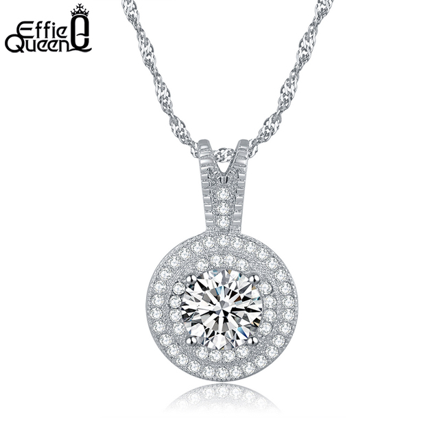 Effie Queen Women Pendant Necklace with 1.25 CT Heats and Arrows Zircon Crystal Silver Color Chain Necklace for Girl DN87