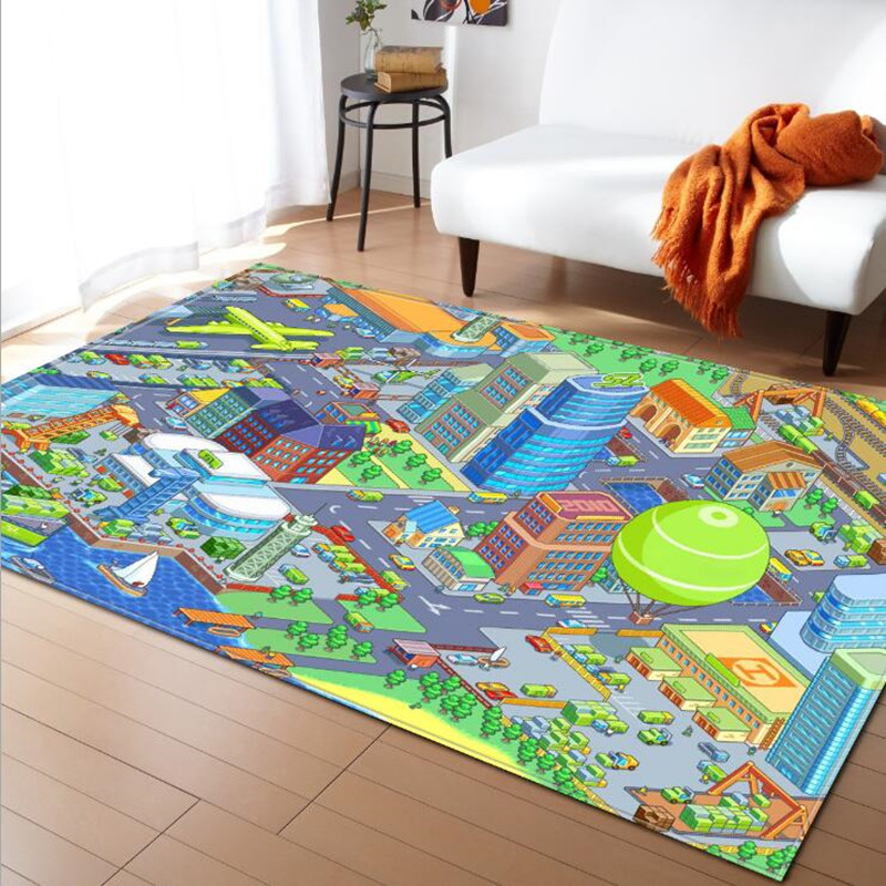 Us 27 99 39 Off Cartoon Print Rugs And Carpets For Home Living Room Rug Baby Bedroom Crawl Tapetes Para Casa Sala Child Non Slip Carpet Alfombra In
