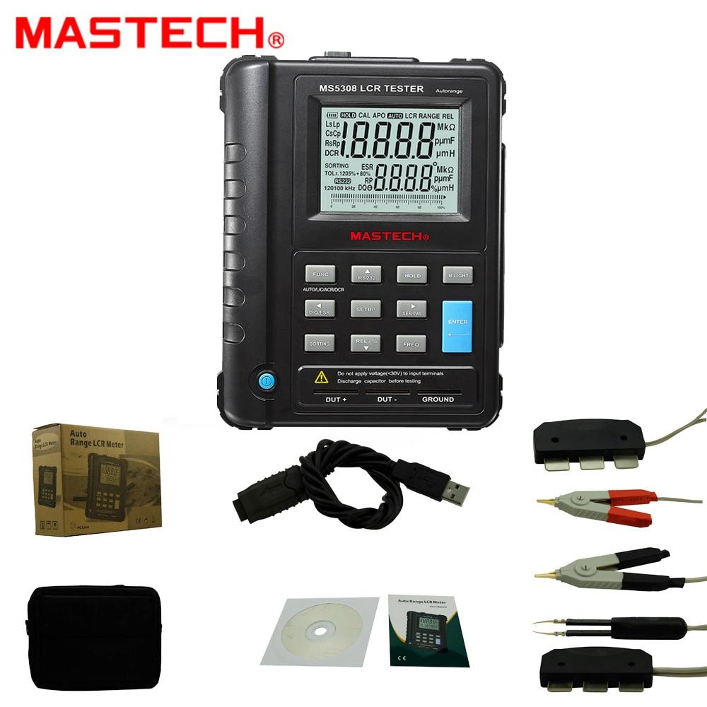 Mastech MS5308 LCR Meter Portable Handheld Auto LCR smart check Meter High-Performance 100Khz 1pcs mastech ms2026r auto
