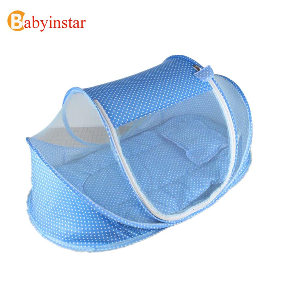 ФОТО  Foldable Portable Baby Infant Bed Canopy Blue Pink Mosquito Net with a Quilt Cotton padded Mattress Pillow Tent