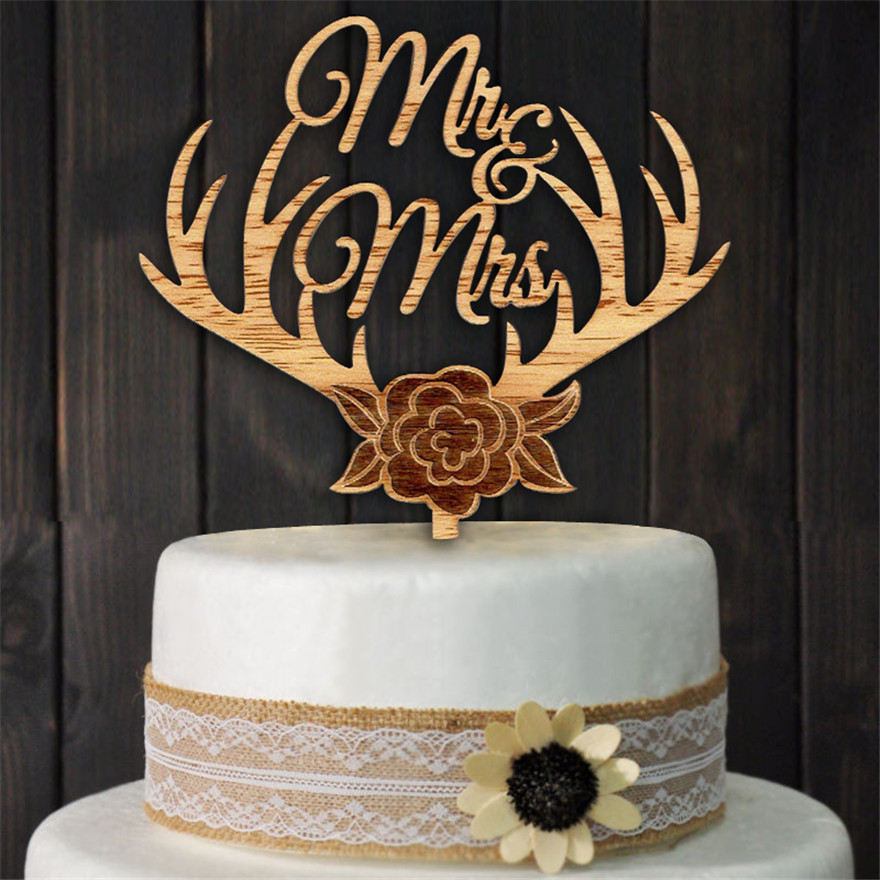 wooden wedding cake toppers wood cake topper antlers mr amp mrs wedding cake topper 1488