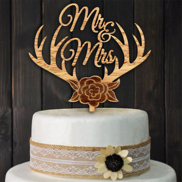 Wood Cake Topper Antlers Mr Mrs Wedding Cake Topper Rustic Wedding
