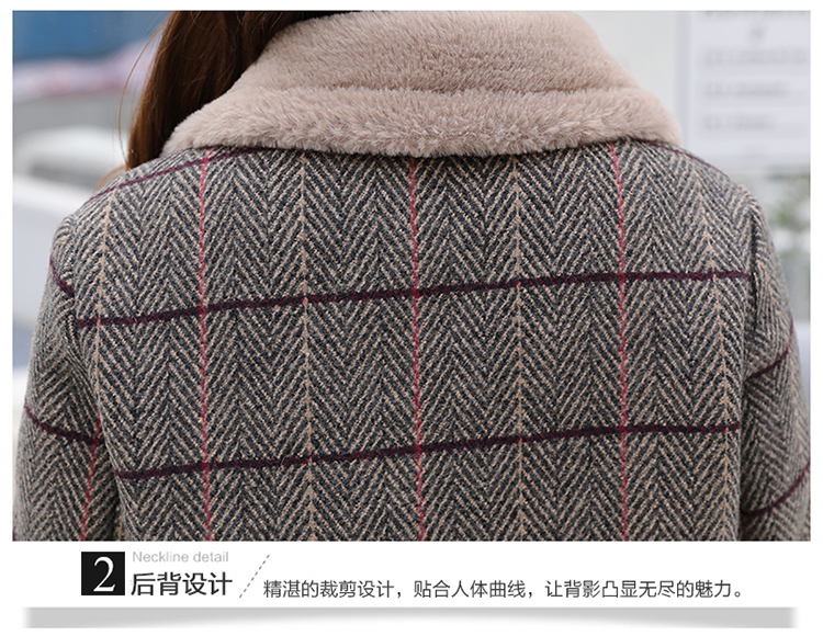 Lamb fur-padded 2018 winter women's new loose-fitting mid-length padded check wool coat, cotton-padded jacket 10