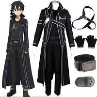 HOT Anime Sword Art Online Kirito Cosplay Costume Fancy Halloween Costumes for Adult Men Kirito SAO Kirigaya Kazuto Costume Suit