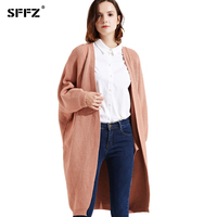 SFFZ 2017 New Woman Long Loose Coat Cardigans Solid Color Knitted Cardigans with Pocket Open Stitch Lady Elegance Sweater Coat