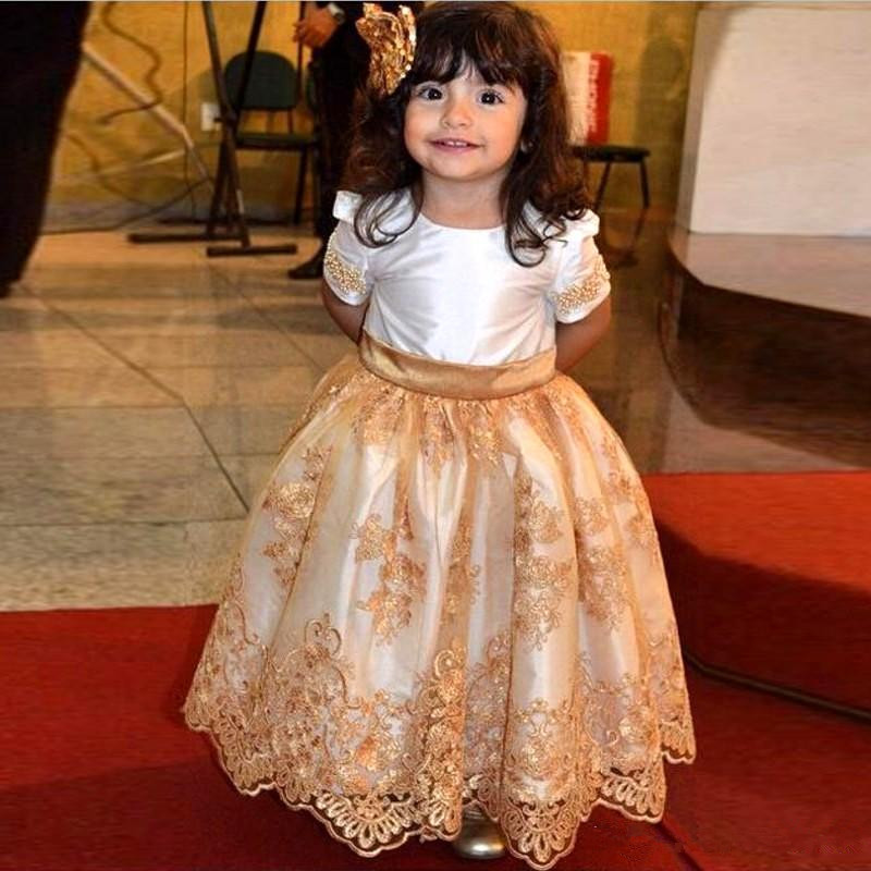Long   Flower     Girl     Dresses   O Neck Pearls Lace Applique Short Sleeves Kids Wedding Party   Dress