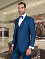 New Arrival Beach Wool Blend Blazer Trim Fit Navy Blue Men Wedding Suit Groom Tuxedo Dinner Jacket Men Business Wears (Jacket+Pa