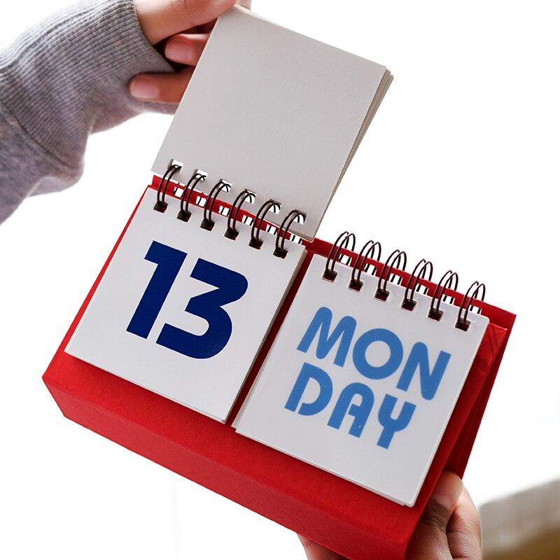 US $6 54 5% OFF|simple 2019 2020 new table desktop calendar office and  school desk printing Perpetual Almanac Calendar-in Calendar from Office &