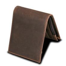 Blocking Men Wallets Vintage Cow Genuine Leather Wallet Male Handmade Custom Dollar Price Coin Purse