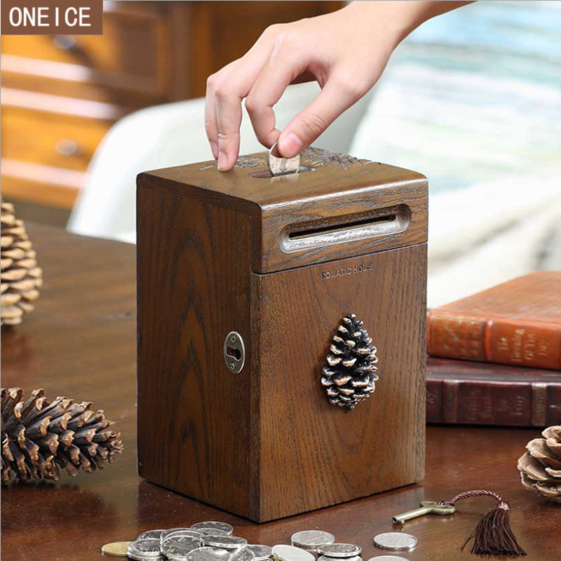 Retro piggy bank solid wood hand carved built in lockable child coin box banknotes and coins