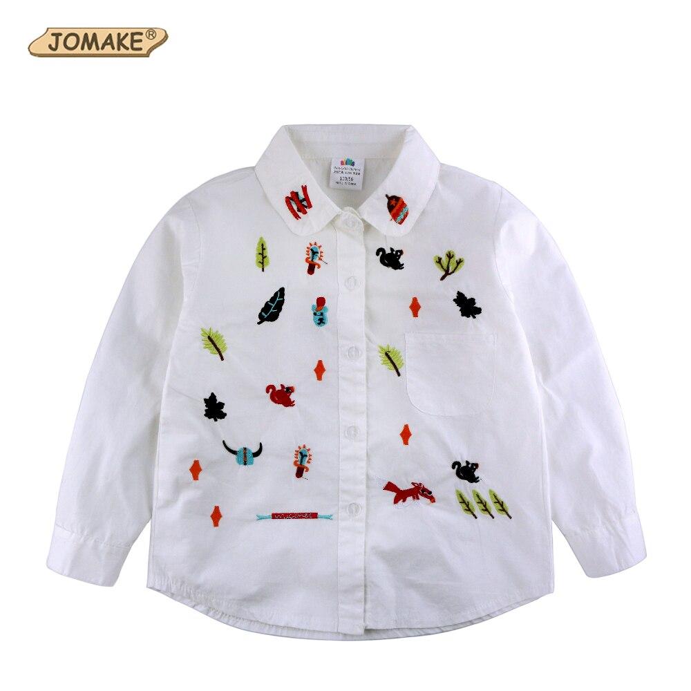 ccab40b81d Graffiti dos desenhos animados Bordado Crianças Brancas Camisas Primavera  Outono Bebé Bonito Blusa   Camisa de Marca Meninas Roupas Roupas Para  Crianças