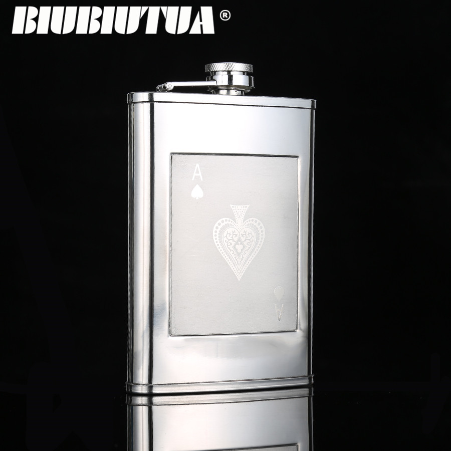 BIUBIUTUA 9oz Portable Pocket Hip Flask Playing Cards Design Outdoor Travel Stainless Steel Flask Whiskey Drink Alcohol Flasks
