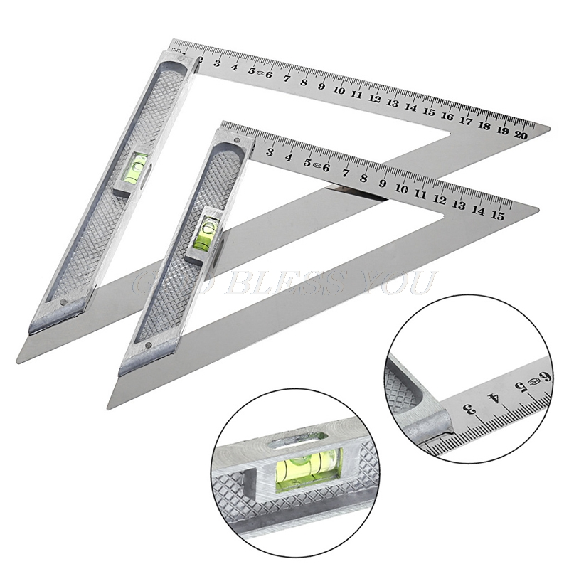 150mm 200mm Triangle Ruler 90 Degrees Alloy With Bead Horizontal Woodworking Measuring Tool