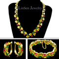 Beautiful multicolor Mona Lisa Cubic Zirconia jewelry sets for party/wedding,gold plated necklace bracelet earring sets