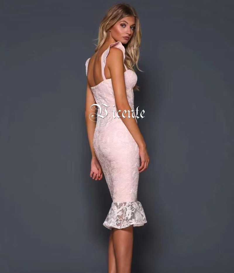 d592139d7d505 Vicente HOT Chic Lace Ruffles Midi Dress Sexy Sleeveless V-neck Celebrity  Party Club Casual Wear Bandage Dress