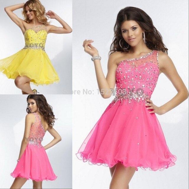 2014 de moda barata vestidos de fiesta amarillo rosa A Line novia ...