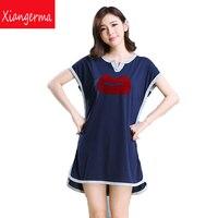 Modal Nightgown Female Summer Short Sleeved Pajamas Female Cartoon Cute Princess Tracksuit Sexy Kiss Free Shipping