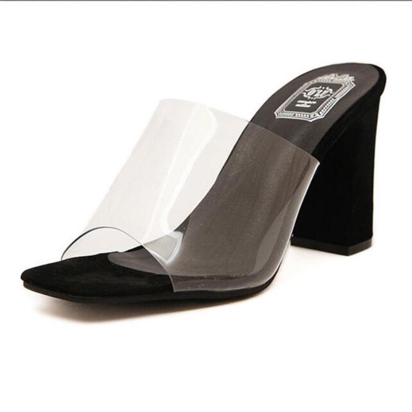 ₪Summer Fashion Elegant Transparent Thick ୧ʕ ʔ୨ Heels ...