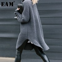 [EAM] 2019 New Spring Fashion Big Size Long Sleeve Turtleneck Knitting Thicken Casual Solid Split Sweater Woman BL811