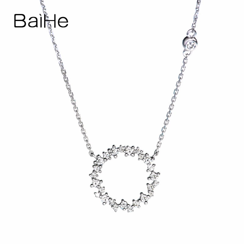 BAIHE Solid 18K White Gold 0.22ct Certified H/SI 100% Genuine Natural Diamonds Engagement Women Trendy Fine Jewelry Necklaces