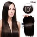 Yotchoi 2 # peruano virgem das tramas do cabelo 10 pcs grampo em extensões do cabelo 100% remy extensões de cabelo em linha reta virgem peruano cabelo