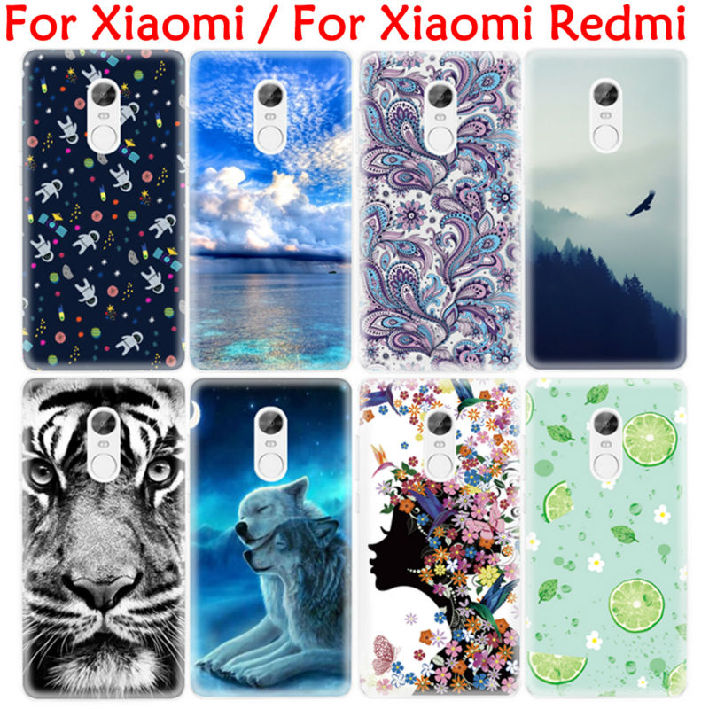 Fashion Tiger Painting TPU Cover Phone Case for Xiaomi Redmi 3 Pro 3S 3X Note 4 3 mi5S Mi4i Mi4C Mi4 mi Max Protective Shell