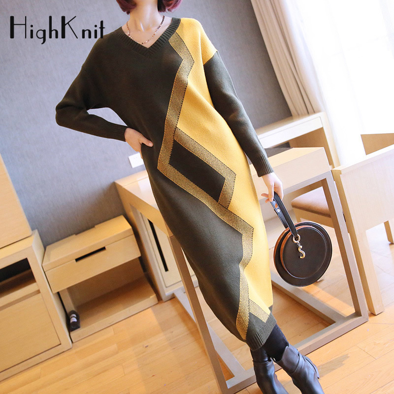 HighKnit Femmes Tricoté Robe Col V Patchwork Robe Pull longue Femmes Automne Épais Chaud Robe d'hiver grande taille Robe Pull Femme