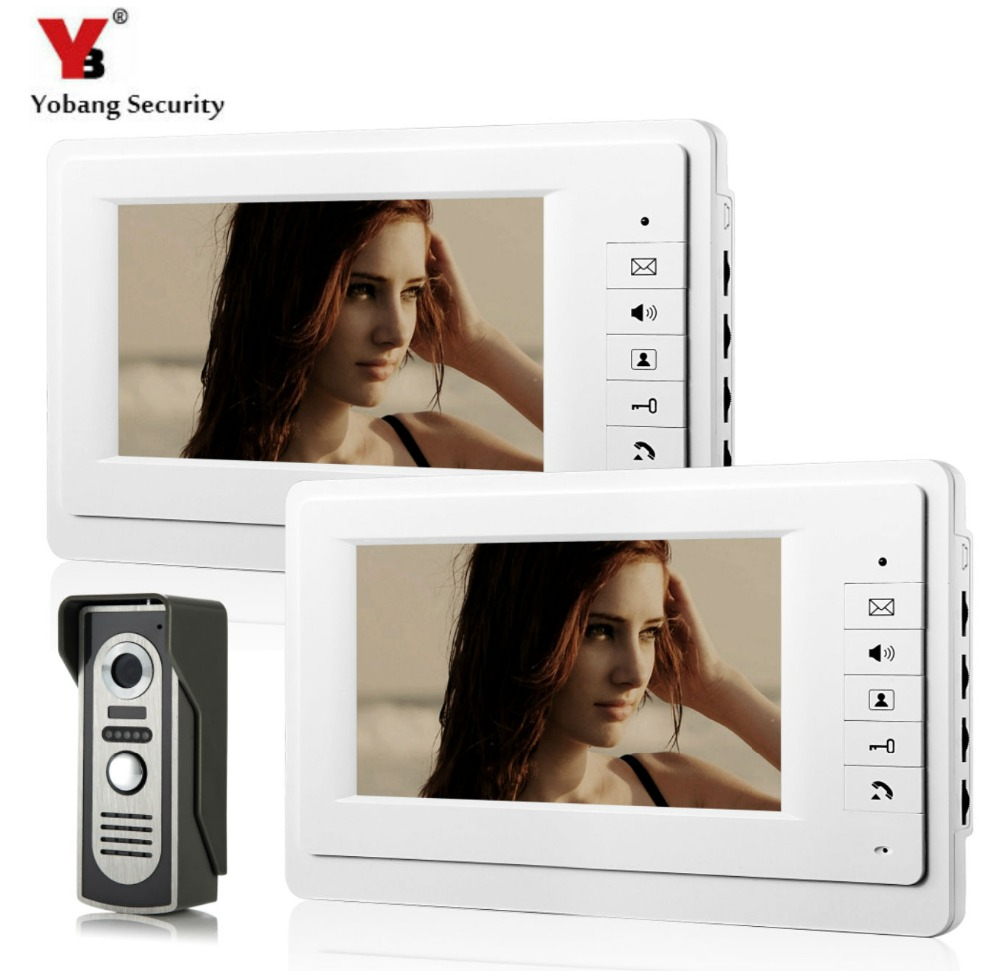 SmartYIBA Home Security Video Intercom 7''Inch Monitor Wired Video Door Phone Doorbell Entry Intercom System 2 Monitor 1 Camera yobang security free ship 7 video doorbell camera video intercom system rainproof video door camera home security tft monitor