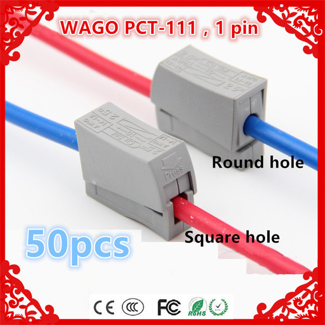 wholesale 50pcs/lot PCT 111 (224 101) Single 1 Pin Wire Connector ...