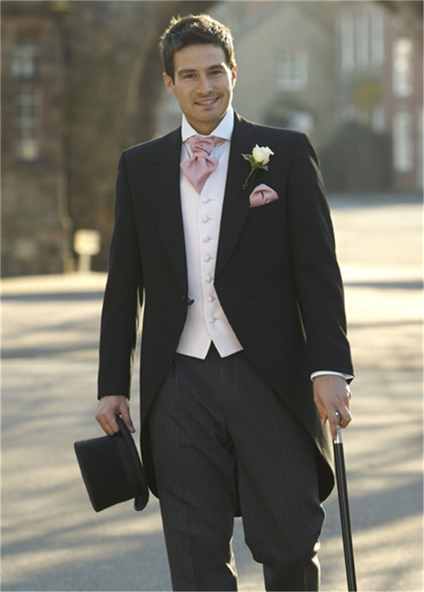 Morning Style One Button Black Groom Tuxedos Groomsmen Mens Wedding ...
