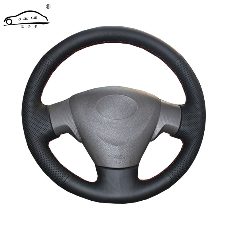 Genuine Leather car steering wheel Cover for Toyota Corolla 2006-2010 Matrix 2009 Auris 2007-2009 Steering-Wheel Handlebar Braid цена