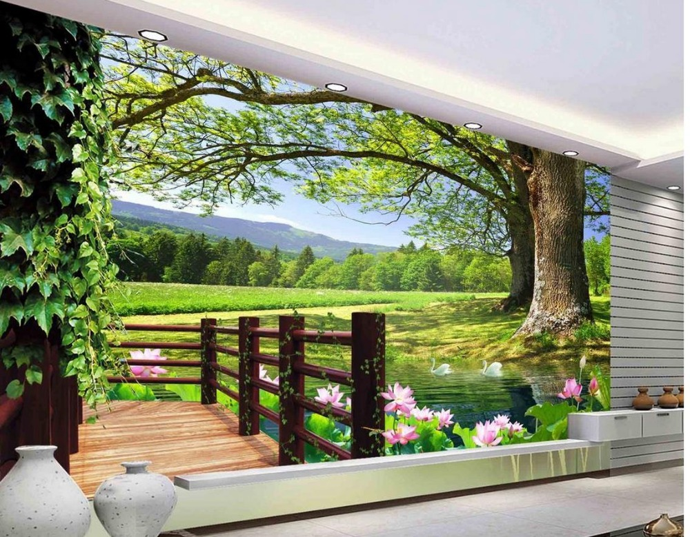 Buy 3d room wallpaper landscape balcony for 3d wallpaper for living room malaysia