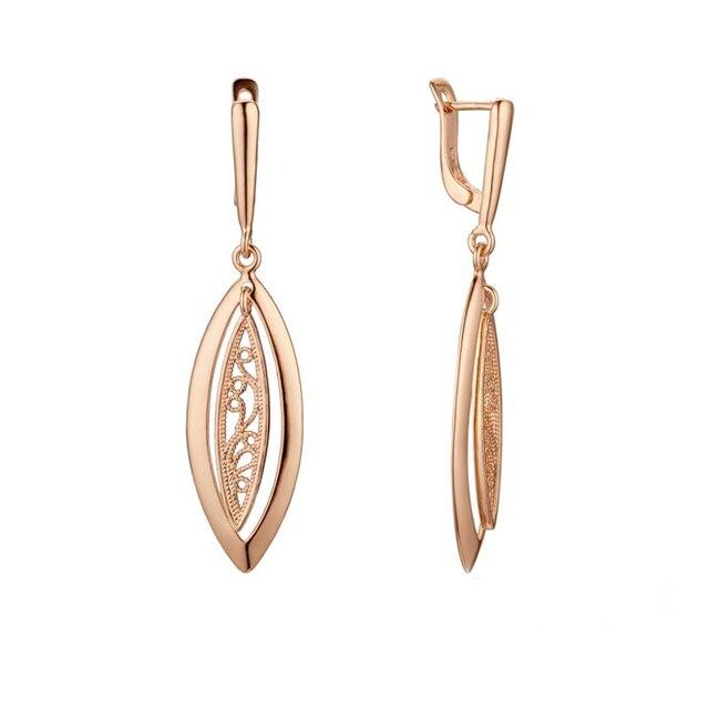 Moda biżuteria kobiety kolczyki damskie 585 różowe złoto kolor skręcone owalne/okrągły spadek kolczyki biżuteria