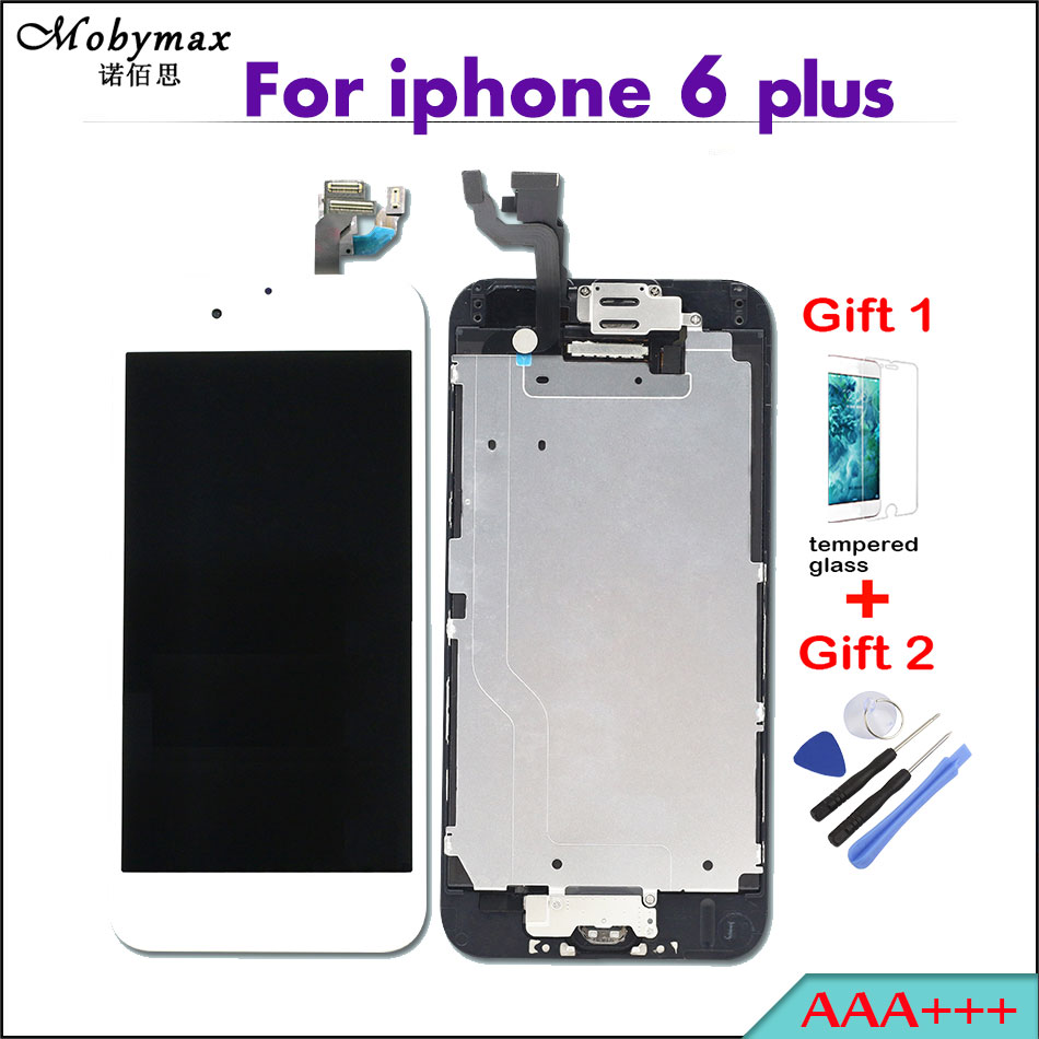 Grade AAA +++ LCD Full Assembly For Apple iPhone 6 plus Touch Screen Digitizer Display+Home Button+Front Camera+Frame add gifts