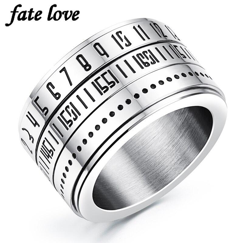 Libre de girar mens número diseño fresco accesorios de joyas anillos de acero inoxidable de 14mm