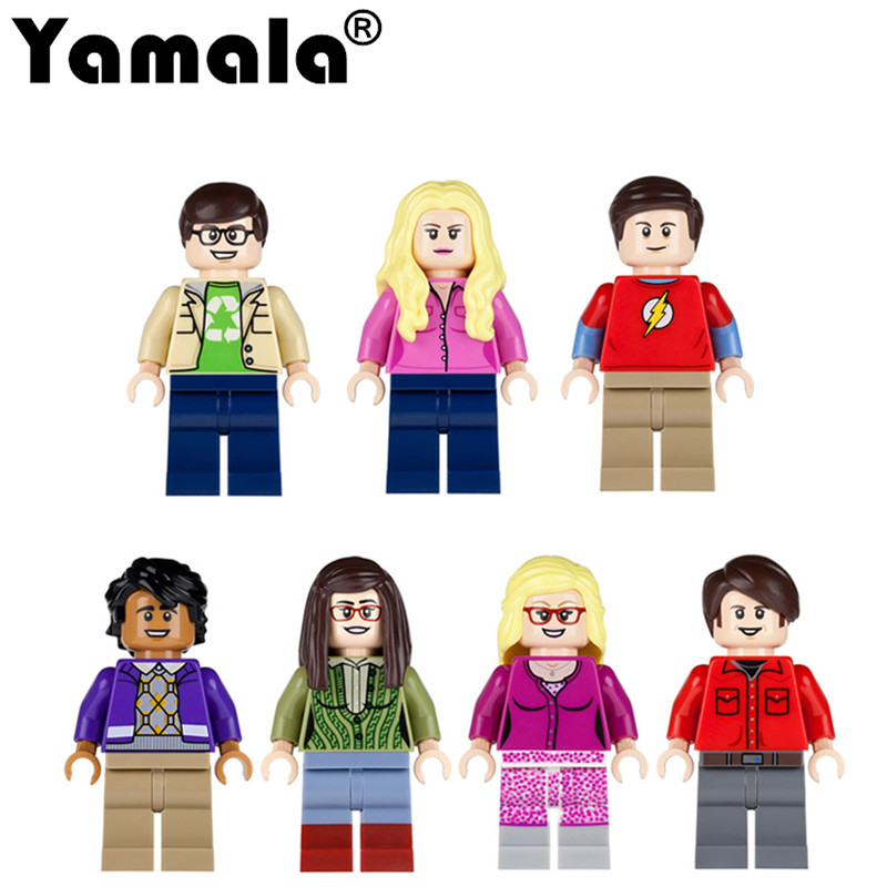 [Yamala]7pcs/set Big Bang Theory figures Leonard Sheldon Penny Building Blocks Kids Gift Toys Compatible with Lego City lepin 02012 city deepwater exploration vessel 60095 building blocks policeman toys children compatible with lego gift kid sets