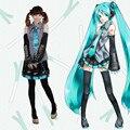 Personalizado a juego completo de equipo de vocaloid hatsune miku cosplay costume set completo uniforme dress disfraces de halloween
