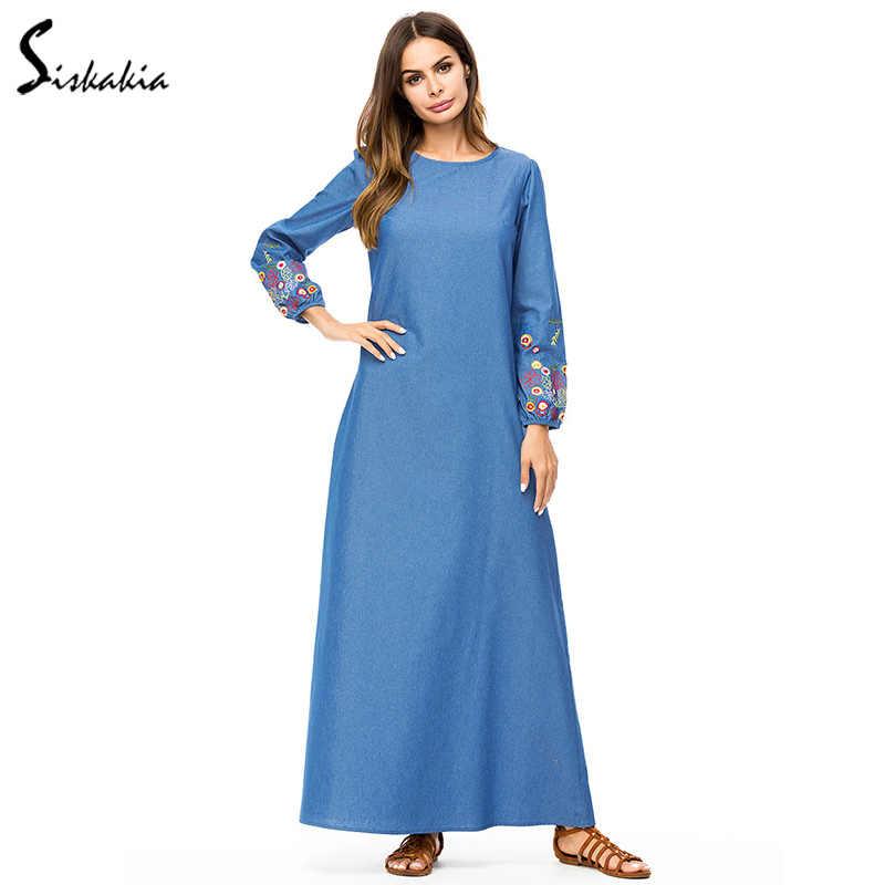 9ee4e63b1a ... Siskakia Women Long Dress Denim Floral Embroidery Maxi Dresses Urban  Casual Round Neck Long Sleeve Autumn ...