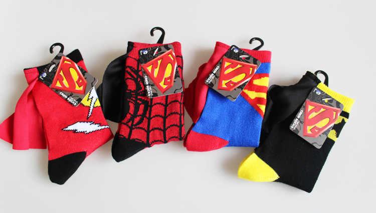子供スーパーマンバットマンスパイフラッシュキャプテンアメリカ衣装ソックスボーイズガールズコットンソックスサッカーバスケットボールスポーツソックス
