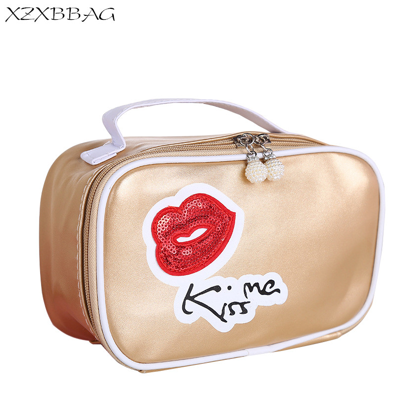 124a43a719 XZXBBAG Creative Kiss Me Cosmetic Bag Women Zipper Pouch Travel Neceseres  Organizer Makeup Case Big Capacity Wash Toiletry Bag