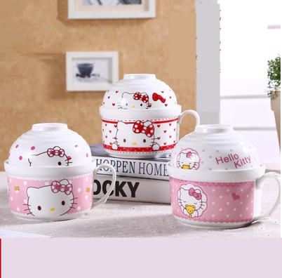 Ceramic Kitty Instant Noodles Bowls Porcelain Ramen Bowl Chinese Soup Salad Bowl Food Container Tableware With Lid Handle utensi