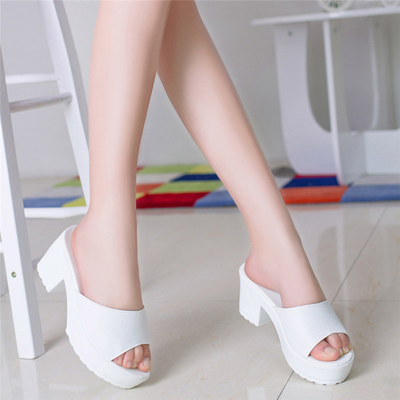Fashion Women Summer Shoes High Heeled Platform Soft Ladies Wedges Flip Flop Slippers Sandals Size35-40 Zapatos Mujer #3  high quality women comfort high heels slippers sandals platform shopping flip flop 170511