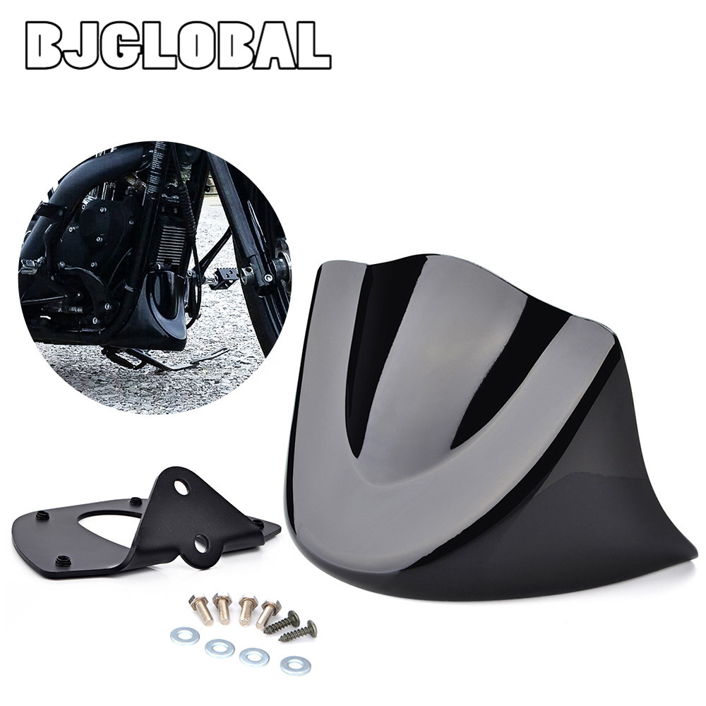 BJGLOBAL Motorcycle Black Lower Front Chin Spoiler Air Dam Fairing Mudguard Cover Fairing Mount For Harley Dyna 2006 up matte black chin fairing front spoiler for harley davidson sportster 1200 04 14